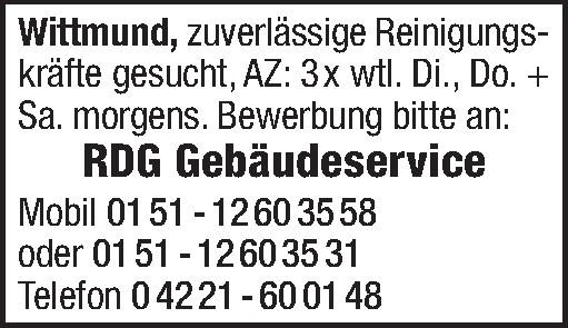 Stellenangebote Putzfrau Wittmund Jobs, Jobbörse | jobs.nwzonline.de